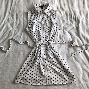 White and Blue Belted Button Up Heart Dress